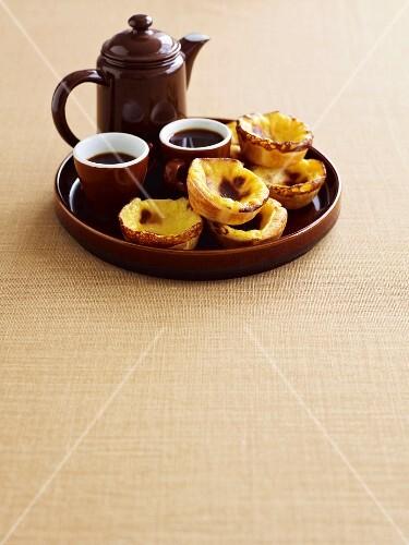 Portuguese custard tarts with cardamom coffee