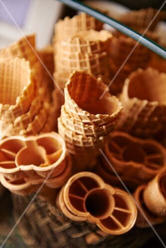 Assorted Flavored Ice Cream Cones; White Background