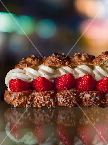 Puff pasty cream slices with strawberries and orange cream