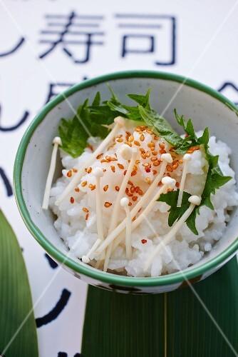 Rice with shiso, enoki mushrooms and sesame seeds (Japan)