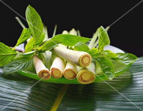 Fresh lemongrass and Thai basil