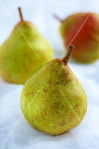 Three freshly washed pears