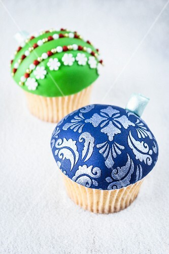 Two Christmas bauble cupcakes