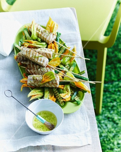 Kingfish skewers with courgette