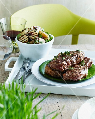 Sirloin kalamata with potato salad (Greece)