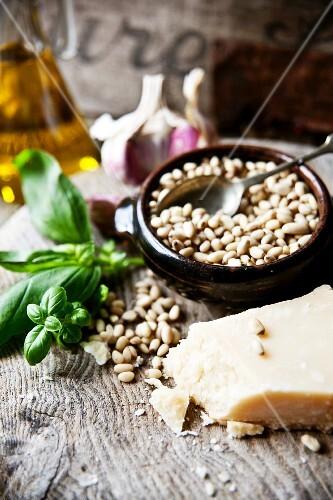 Ingredients for classic pesto