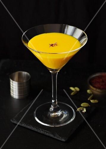 A saffron, cardamom and white chocolate Martini