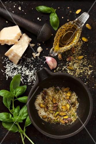 Ingredients for making pistachio pesto