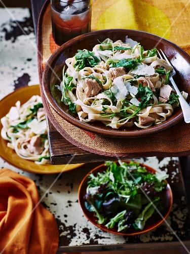 Tagliatelle with tuna, Parmesan, spinach and lettuce