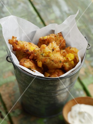 Smoked salmon beignets with sweetcorn