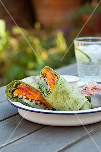 Vegetable wraps with a radish salad