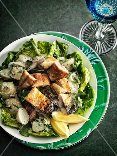 Tea-smoked mackerel with potato salad