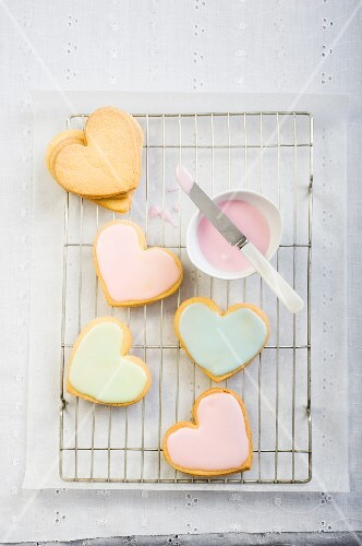 Colourful heart-shaped biscuits