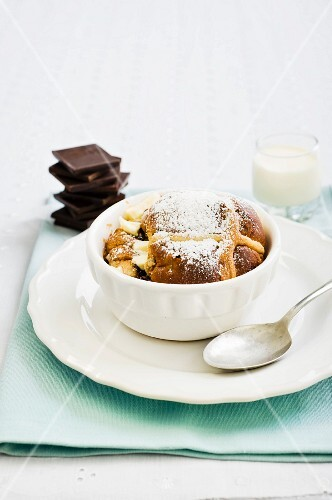 A sweet bake made with bread rolls and chocolate