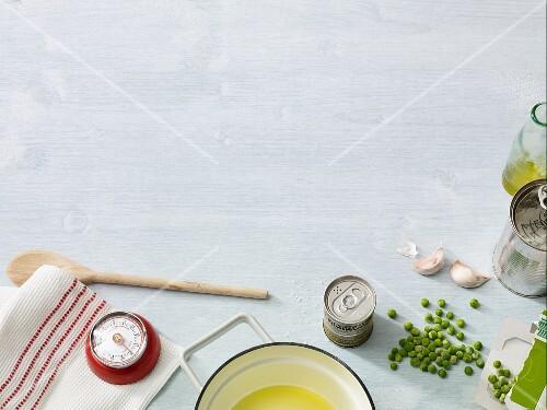 An arrangement of ingredients for fast vegan cuisine