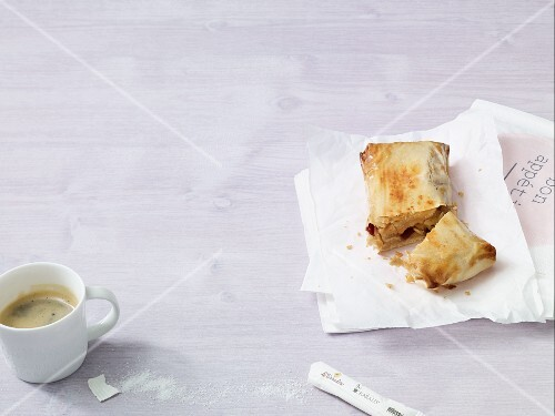 Apple strudel with marzipan
