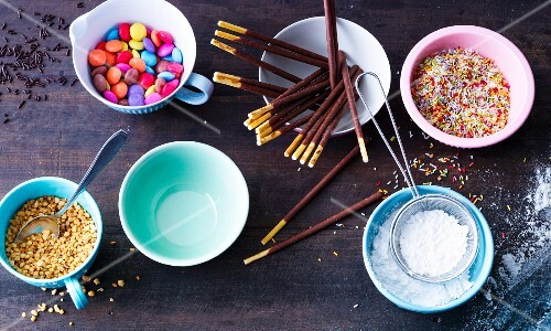 Various ingredients for decorating cakes and biscuits