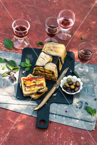 Aubergine terrine with peppers (Provence, France)
