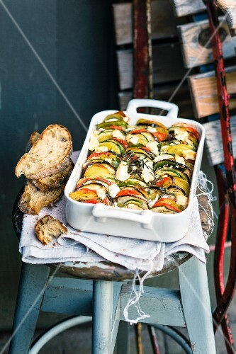 A layered vegetable gratin with goat's cheese