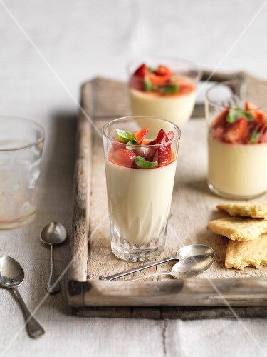 Lemon Posset with strawberries and basil