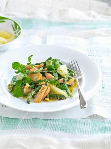 Mixed leaf salad with salmon and lemon pistachio vinaigrette
