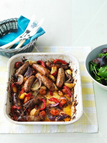 Oven-roasted sausages and vegetables