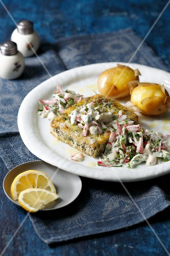 Tofu escalope with radish remoulade and new potatoes