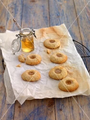 Elderberry biscuits on baking paper