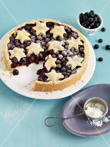 Blueberry pie topped with pastry stars