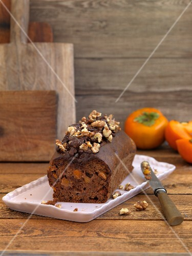 Walnut cake with persimmons