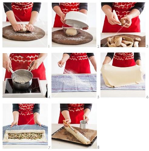 Mushroom strudel being prepared