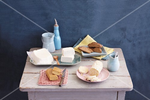 Soya products on a rustic table