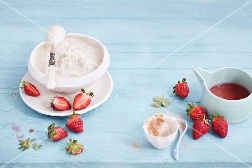Vanilla ice cream with cinnamon sugar and strawberries