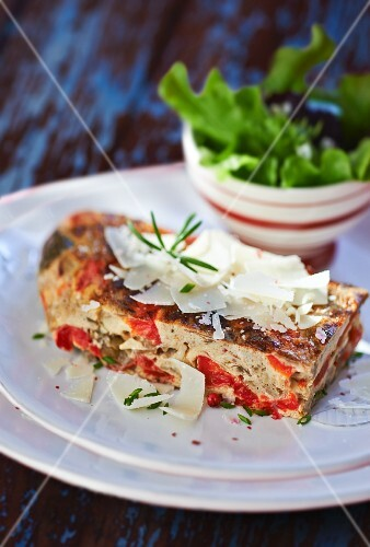 Frittata with peppers and Grana Padano