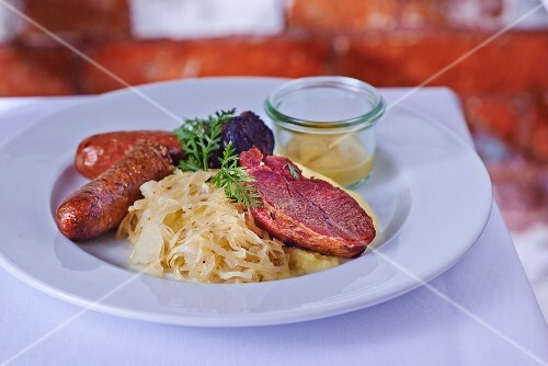Butcher's platter with sauerkraut