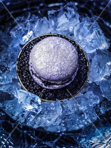 A purple macaroon with caviar