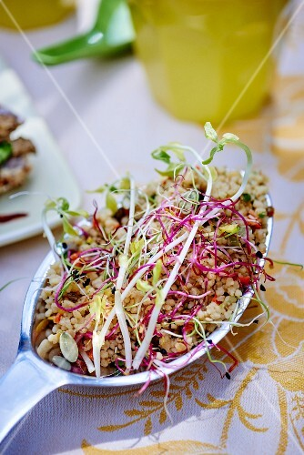 A spoonful of grain salad with bean sprouts