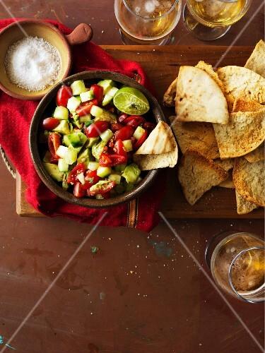 Avocado salsa with pita crisps (Mexico)