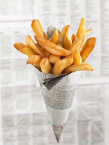Chips in a newspaper cone