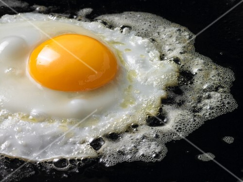 A fried egg in a black pan (close-up)