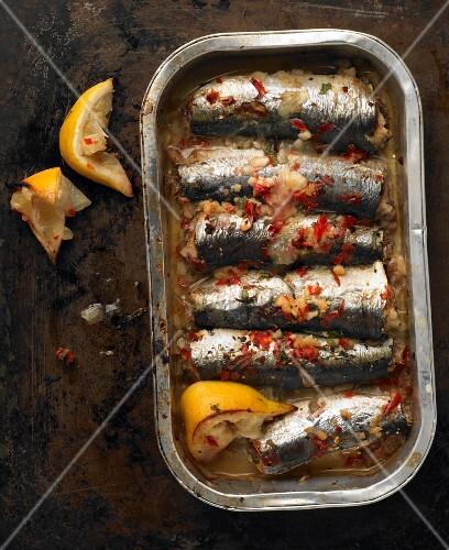 Baked sardines with chilli, garlic and lemon in an aluminium tray