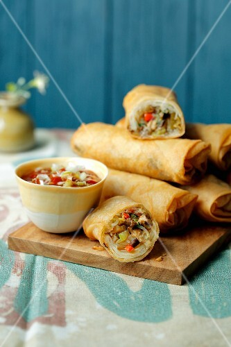 Vegetarian spring rolls with a honey and chilli sauce