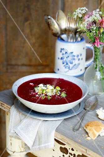 Beetroot soup with sheep's cheese gremolata