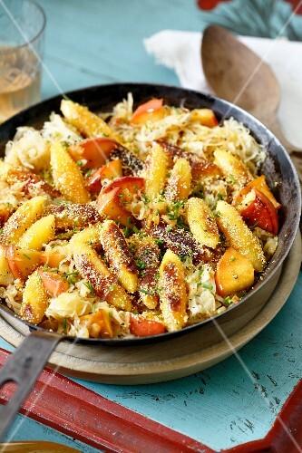 Potato orzo pasta with apple-sauerkraut