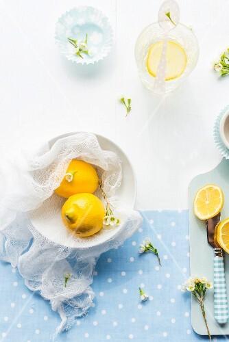 Lemons and summer flowers