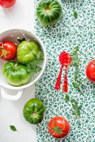 Red and green heirloom tomatoes