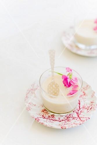Vanilla panna cotta with edible flowers