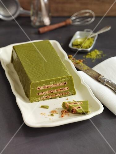Vegan biscuit cake with matcha
