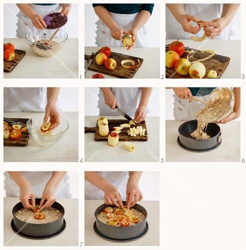 Vegan apple and rose cake being made