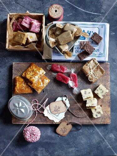 Homemade confectionery: fudge, caramel and bonbons